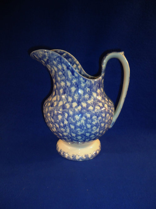 Early 19th Century Staffordshire Blue and White Spongeware Water Pitcher