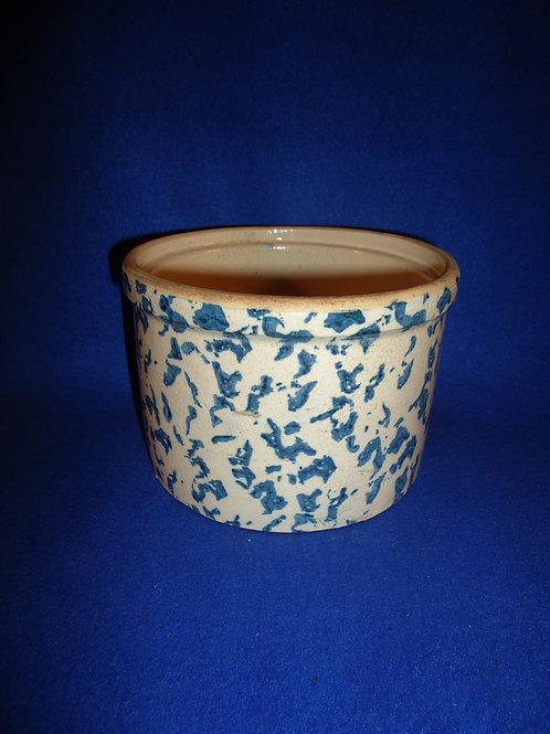 Blue and White Spongeware Stoneware Uhl Butter Crock #5539