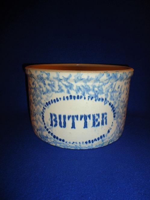 Large Blue and White Spongeware Stoneware Butter Crock #5445