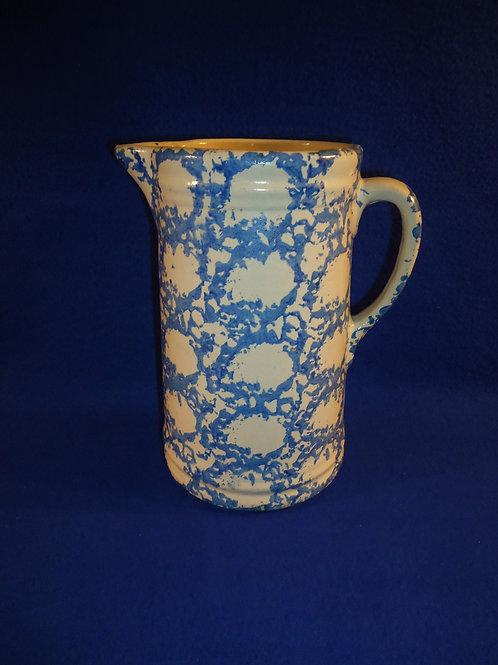 Blue and White Spongeware Stoneware Pitcher, Chicken Wire #5401