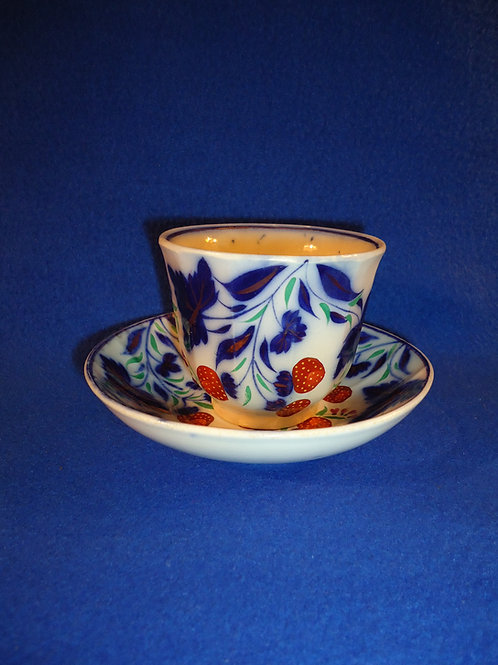 Gaudy Ironstone Cup and Saucer in the Strawberry Pattern, att. Elsmore Forster