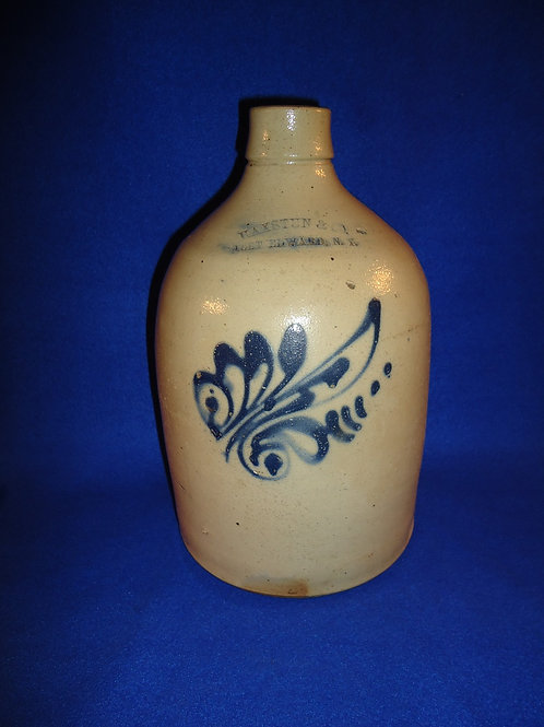 Haxstun, Fort Edward, New York Stoneware 1 Gallon Jug with Floral