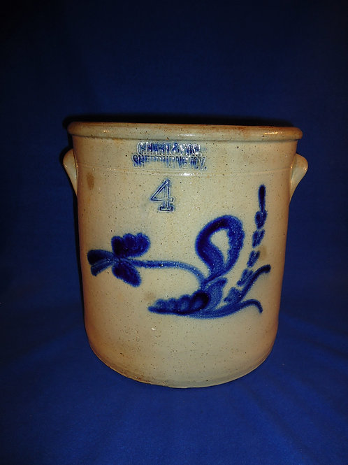 C. Hart, Sherburne, New York Stoneware 4g. Crock with Bold Floral #5221