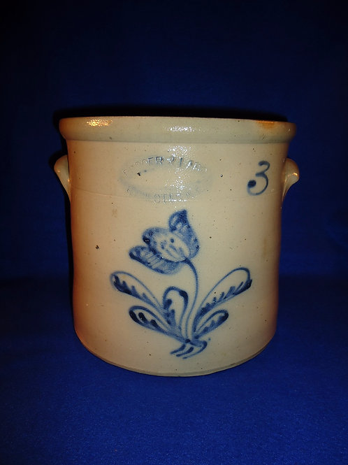 Burger and Lang, Rochester, New York Stoneware 3g Crock with Tulip