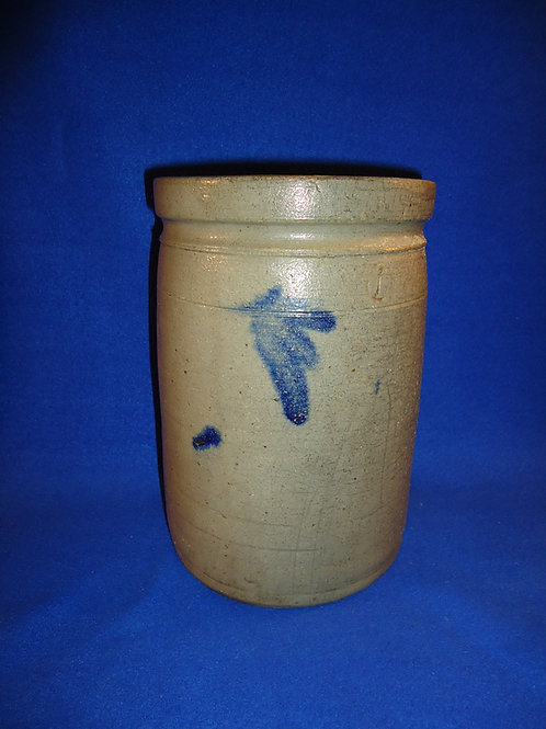 1 Gallon Stoneware Jar with Cobalt Leaves, att. Ralph Grier, Chester County, PA