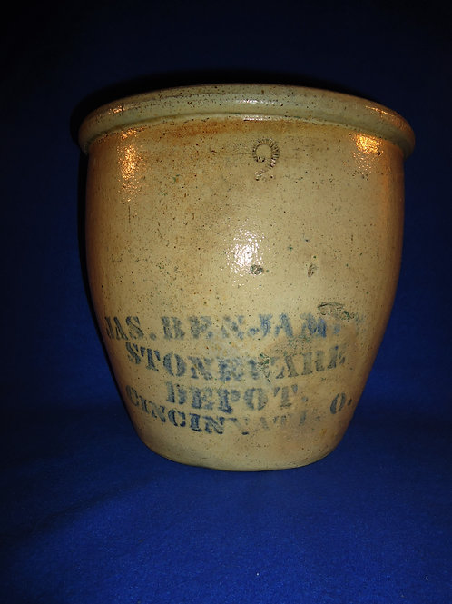 James Benjamin, Stoneware Depot, Cincinnati, Ohio Stoneware Cream Pot