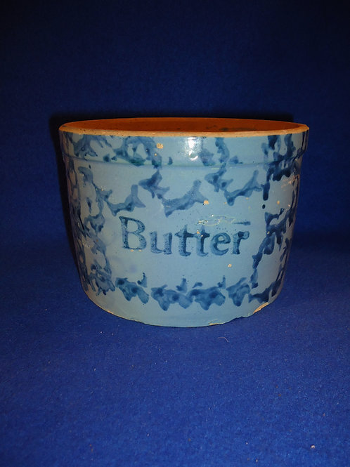 Blue on Blue Spongeware Stoneware Butter Crock