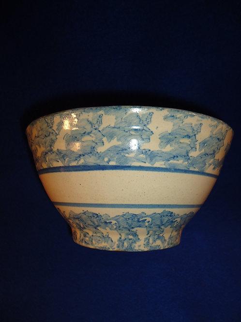 "Circa 1900 Blue and White Stoneware Spongeware 8"" Striped Bowl"
