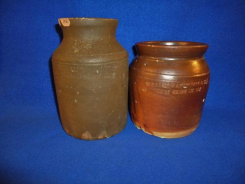 2 Mid-19th Century New York City Small Stoneware Jars for 1 Money #5275