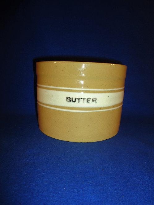 Yellow Ware Butter Crock, Brush McCoy Dandy Line #5154