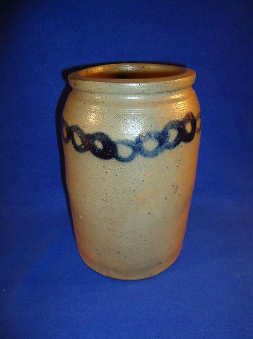 Circa 1860 Stoneware Jar with Cobalt Chain, att. Milburn, Alexandria, Virginia