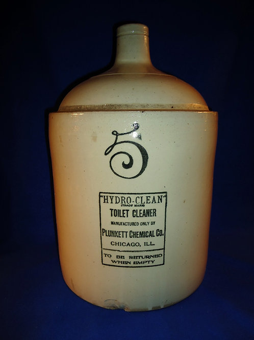 Hydro-Clean Toilet Cleaner, Chicago 5g. Stoneware Jug by Red Wing Stoneware