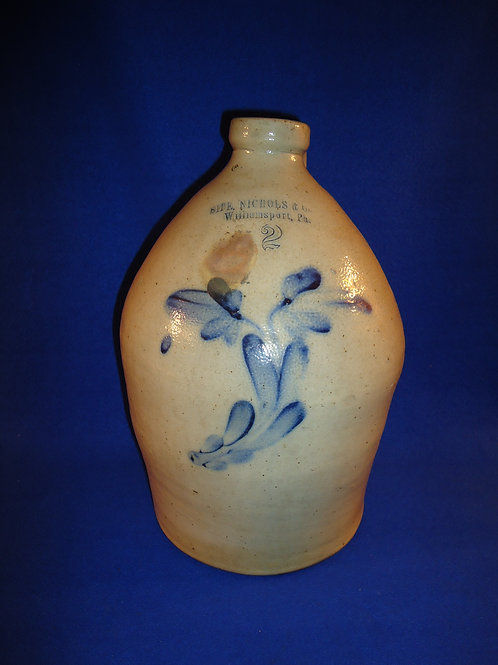 Sipe and Nichols, Williamsport, Pennsylvania Stoneware Jug with Tulips
