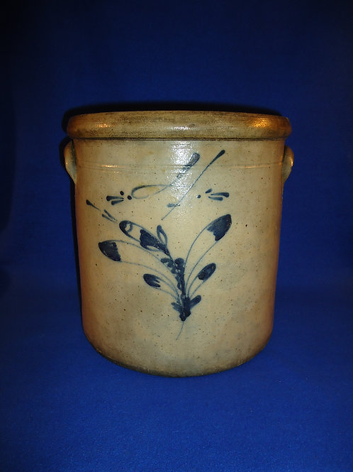 Circa 1880 4 Gallon Crock with Fancy Flower from Ohio #5034