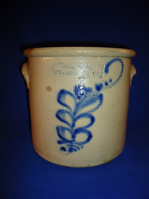 New York Stoneware 2 Gallon Crock with Bright Cobalt Floral