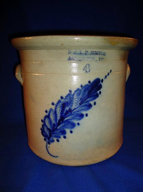 E. & L. P. Norton, Bennington, Vermont Stoneware 4g Crock with Floral