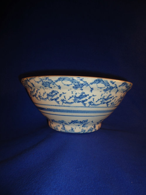 "Blue and White Striped 10"" Spongeware Stoneware Mixing Bowl #5475"