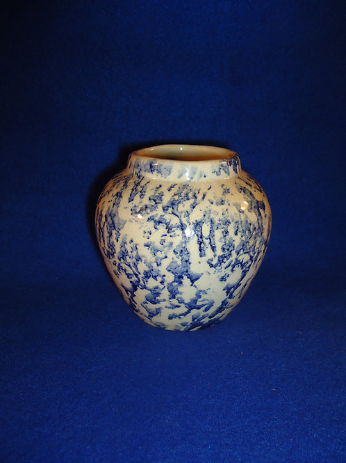 "Blue and White Stoneware Spongeware 3 1/2"" Jar"