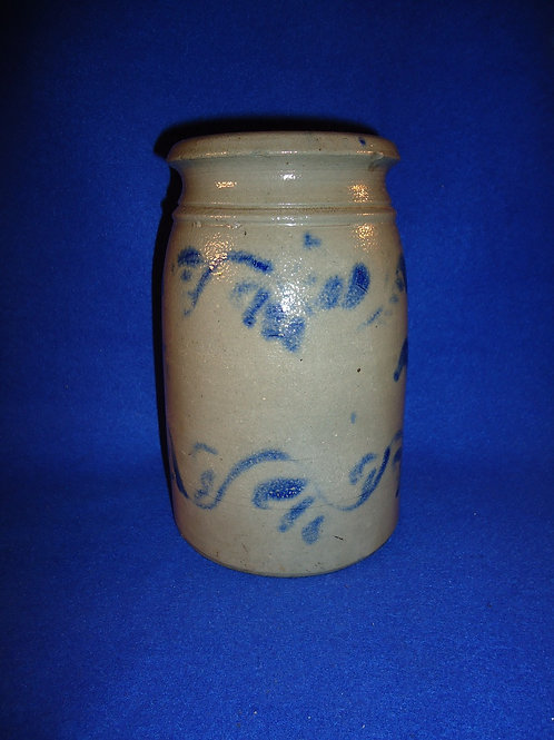 "8"" Stoneware Wax Sealer with Freehand Vining from Southwestern Pennsylvania"