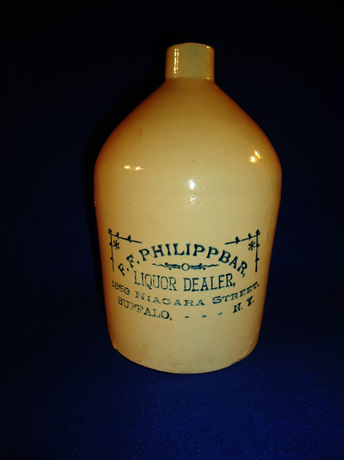 Philippbar, LIquor Dealer, Buffalo, New York Stoneware 1/2 Gallon Jug