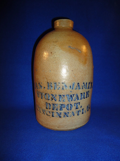 James Benjamin, Cincinnati, Ohio 1 Gallon Stoneware Jug