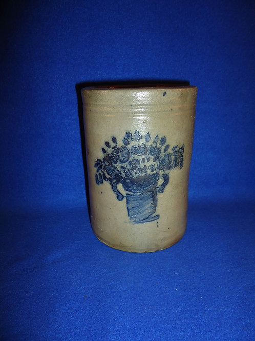"6"" Stoneware Stove Pipe Wax Sealer with Urn of Flowers, SW PA #5312"
