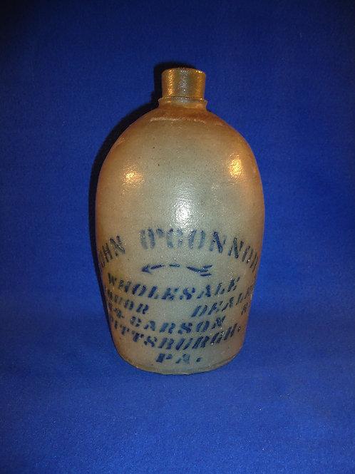 John O'Connor, Liquor Dealer, Pittsburgh, Pennsylvania Stoneware 1/2 Gallon Jug