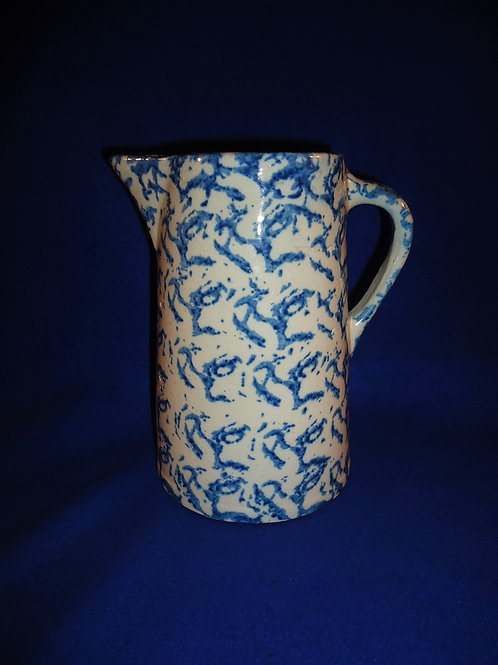 Blue and White Spongeware Stoneware Pitcher, Careful Pattern, #5082