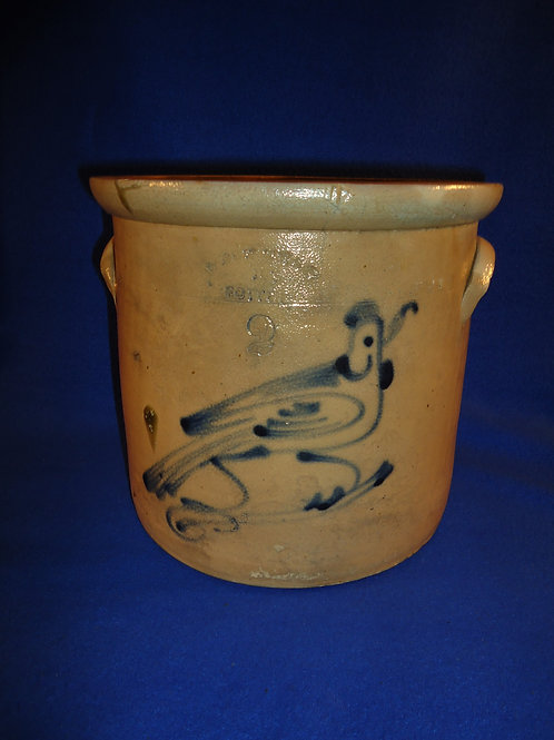 West Troy Pottery 2 Gallon Crock with Bird on Branch, #4853