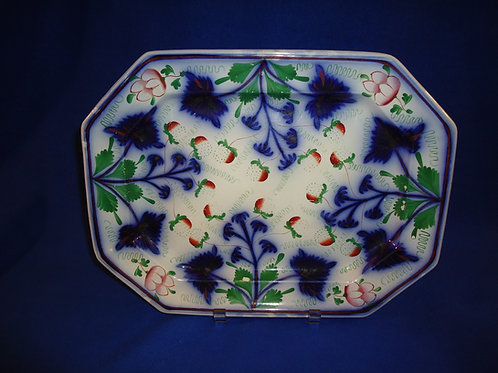 Elsmore and Forster, Tunstall Gaudy Ironstone Platter in the Strawberry Pattern