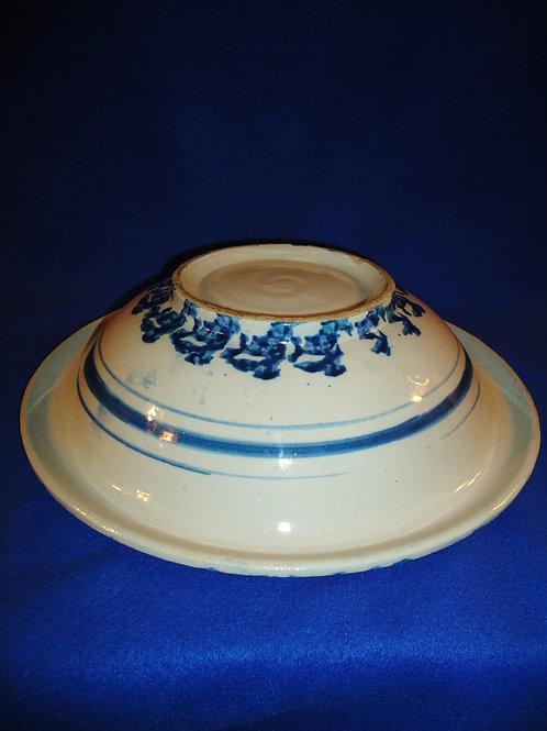 Blue and White Spongeware Stoneware Wash Basin #4473