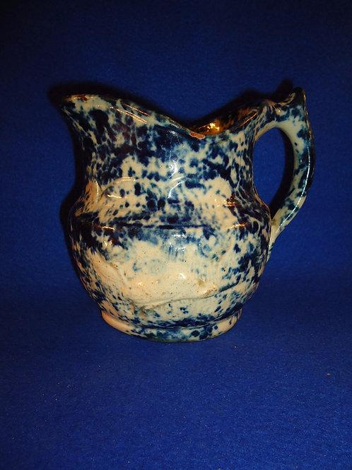 Circa 1830 Redware Blue and White Spongeware Creamer with Egret Motif
