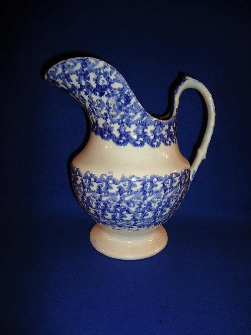 Blue and White Spongeware Stoneware Staffordshire Pitcher #4468