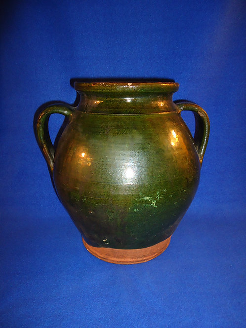 Circa 1820 Redware Ovoid Jar, Green Glaze, att. Bristol County, Massachusetts