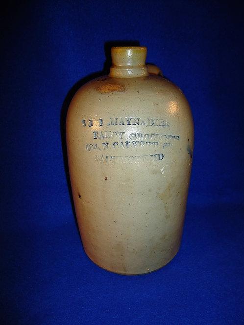 M. Maynadier, Fancy Grocer, Baltimore, Maryland 1/2 Gallon Stoneaware Jug