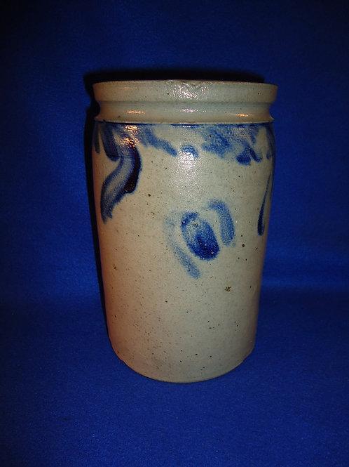 "Circa 1860 Baltimore, Maryland Stoneware 8 1/2"" Jar with Tulips"
