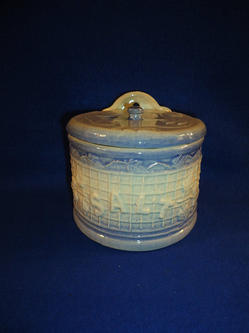 Blue and White Stoneware Salt Crock by J.A. Bauer, #4832