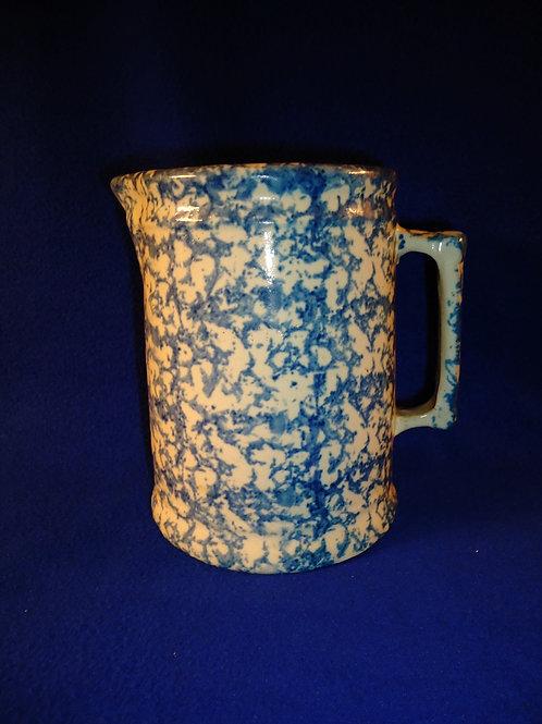 Blue and White Spongeware Stoneware Pitcher. Oversized Hallboy