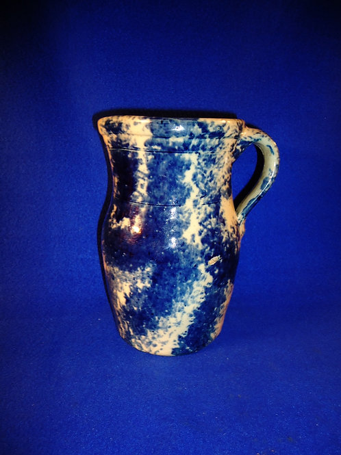 Circa 1860 Stoneware Blue and White Spongeware Pitcher from NE Ohio