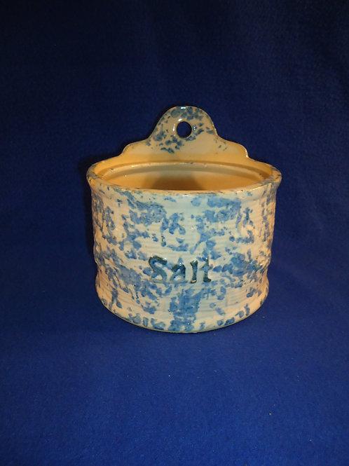 Rare Blue and White Stoneware Spongeware Salt Crock- Blackberry on Basketweave