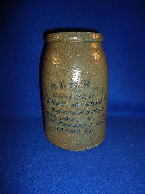 H. F. Behrens, Grocer, Market St, Wheeling, West Virginia Wax Sealer Canning Jar