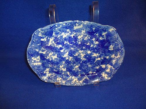 """Blue and White Stoneware Spongeware Platter 9 1/2"""""""