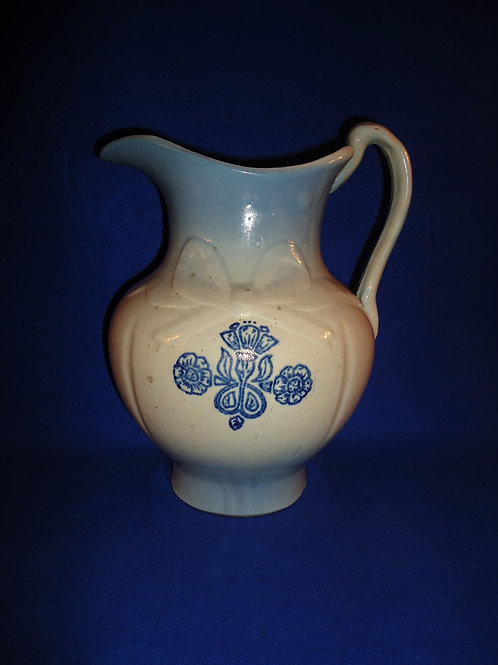 Blue and White Stoneware Bowknot Wash Pitcher, Diffused Blue #5121