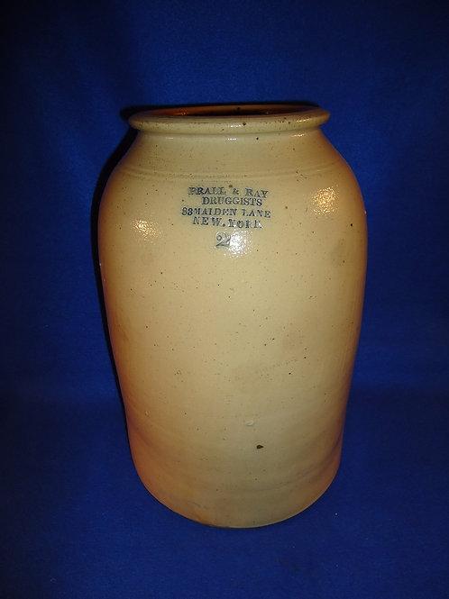 Prall and Ray, Druggists, New York City Stoneware 2 Gallon Jar