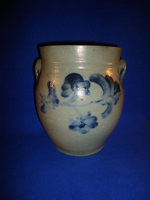 Circa 1840 Stoneware Ovoid Jar with Garland, att. Henry Remmey, Jr. Philadelphia