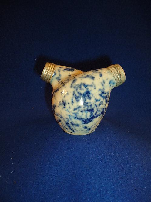 Blue and White Spongeware Stoneware Double Chamber Salt and Pepper Shaker