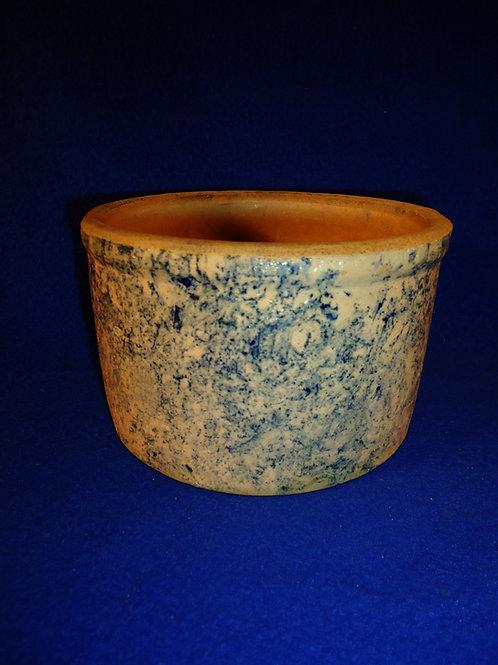 Dalton Pottery, Dalton, Ohio Blue and White Spongeware Stoneware Butter Crock