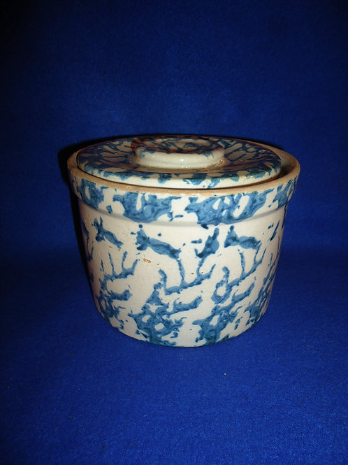 Blue and White Spongeware Stoneware Butter Crock by Uhl #5662