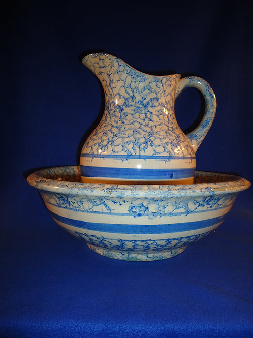 Matching Blue and White Spongeware Stoneware Pitcher and Bowl #4513