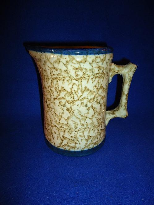 Unusual Brown and White Spongeware Stoneware Hallboy Pitcher